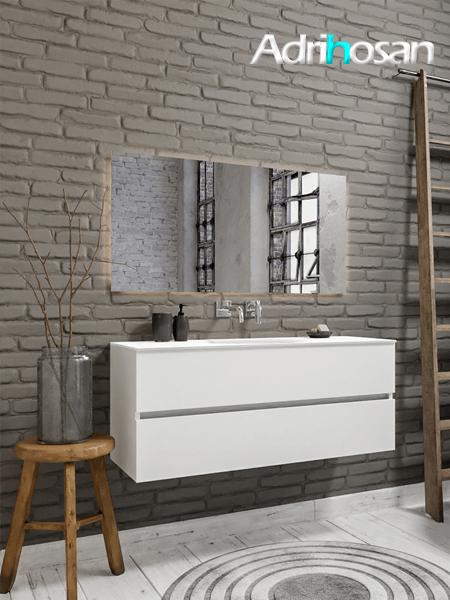 Mueble de baño 120 cm Blanco mate con 2 cajones, lavabo de Solid surface seno centrado con 0 orificio(s) para el grifo.
