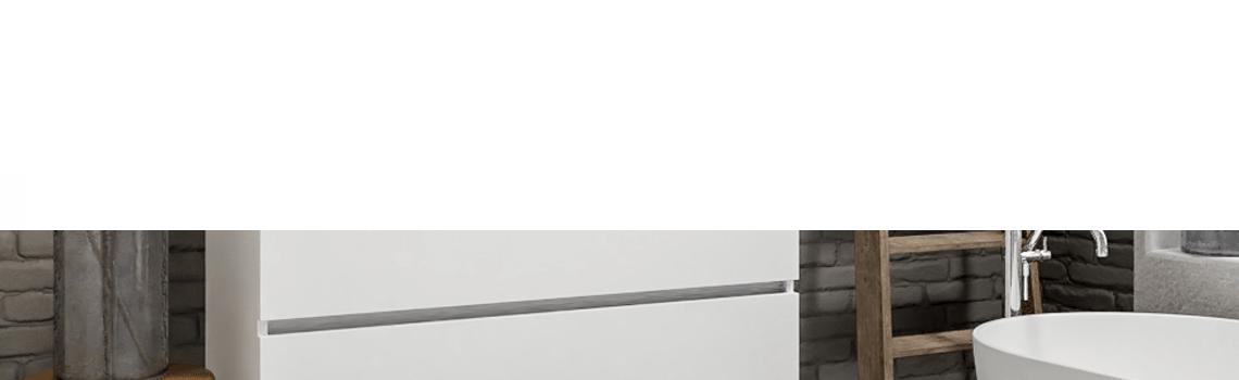 Mueble de baño suspendido Vica 120 white 2 cajones en acabado blanco mate. Un mueble de baño de seno centrado de apertura suave por uñero con encimera para grifo empotrado.