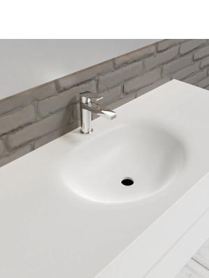 Mueble de baño suspendido Vica 120 white 2 cajones en acabado blanco mate. Un mueble de baño de apertura suave por uñero con encimera seno centrado c/orif.