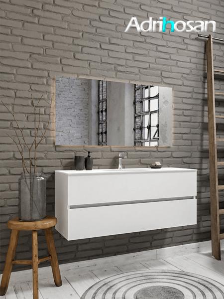 Mueble de baño 120 cm Blanco mate con 2 cajones, lavabo de Solid surface seno centrado con 1 orificio(s) para el grifo.