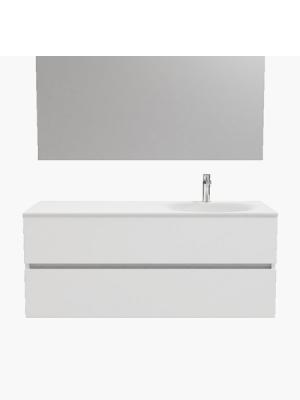 Mueble de baño suspendido Vica 120 white 2 cajones en acabado blanco mate. Un mueble de baño de apertura suave por uñero con encimera seno derecha c/orif.