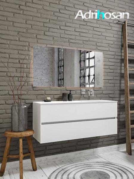Mueble de baño 120 cm Blanco mate con 2 cajones, lavabo de Solid surface seno derecho con 0 orificio(s) para el grifo.