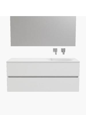 Mueble de baño suspendido Vica 120 white 2 cajones en acabado blanco mate. Un mueble de baño de seno derecho de apertura suave por uñero con encimera para grifo empotrado.