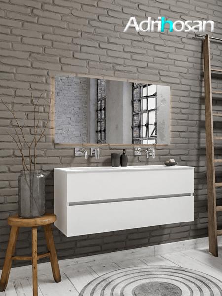 Mueble de baño 120 cm Blanco mate con 2 cajones, lavabo de Solid surface seno doble con 0 orificio(s) para el grifo.