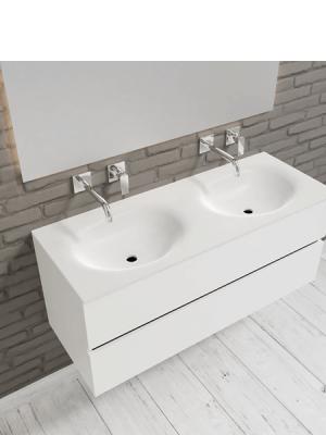 Mueble de baño suspendido Vica 120 white 2 cajones en acabado blanco mate. Un mueble de baño de seno doble de apertura suave por uñero con encimera para grifo empotrado.