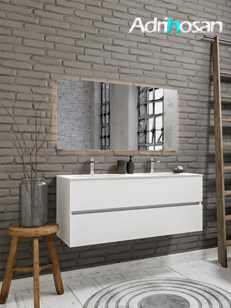 Mueble de baño 120 cm Blanco mate con 2 cajones, lavabo de Solid surface seno doble con 2 orificio(s) para el grifo.