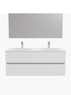 Mueble de baño suspendido Vica 120 white 2 cajones en acabado blanco mate. Un mueble de baño de apertura suave por uñero con encimera seno doble c/orif.