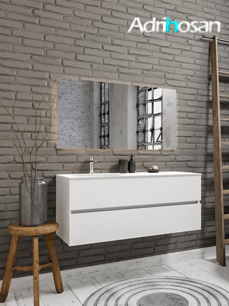 Mueble de baño 120 cm Blanco mate con 2 cajones, lavabo de Solid surface seno izquierdo con 1 orificio(s) para el grifo.