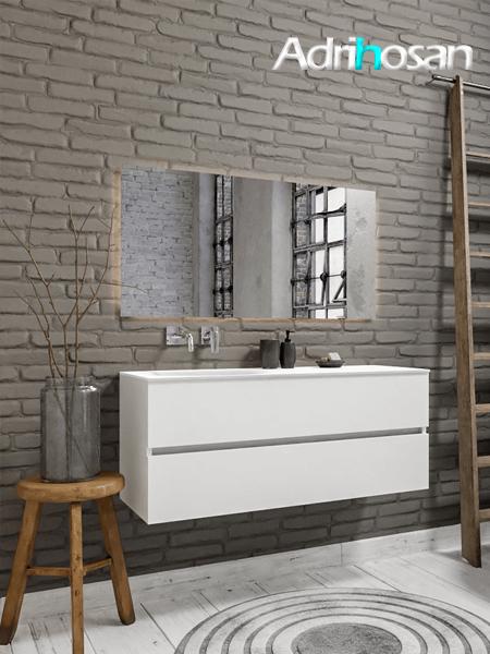 Mueble de baño 120 cm Blanco mate con 2 cajones, lavabo de Solid surface seno izquierdo con 0 orificio(s) para el grifo.
