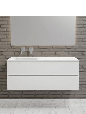 Mueble de baño suspendido Vica 120 white 2 cajones en acabado blanco mate.Mueble de baño de apertura suave por uñero seno izquierdo para grifo empotrado.