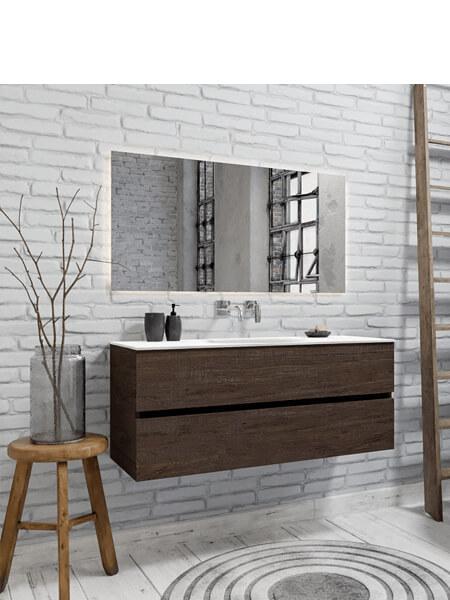 Mueble de baño 150 cm Wood nogal con 2 cajones, lavabo de Solid surface seno centrado con 0 orificio(s) para el grifo.
