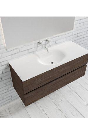 Mueble de baño suspendido Vica 120 Wood nogal 2 cajones en acabado Wood nogal mate. Un mueble de baño de apertura suave por uñero con encimera para grifo empotrado y seno centrado.
