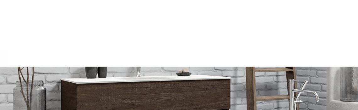 Mueble de baño suspendido Vica 120 Wood nogal 2 cajones en acabado Wood nogal mate. Un mueble de baño de apertura suave por uñero con encimera para grifo sobre encimera y seno centrado.