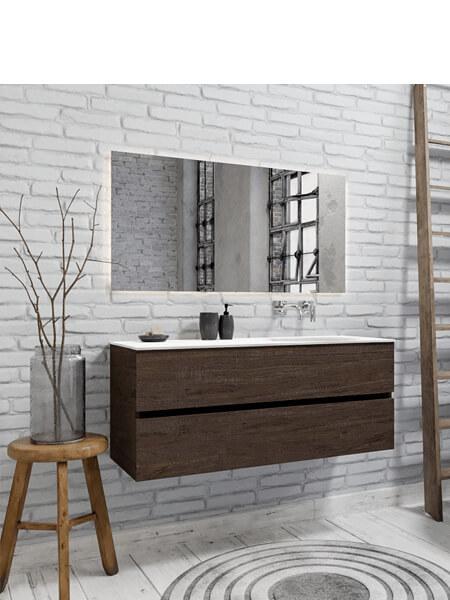 Mueble de baño 150 cm Wood nogal con 2 cajones, lavabo de Solid surface seno derecho con 0 orificio(s) para el grifo.