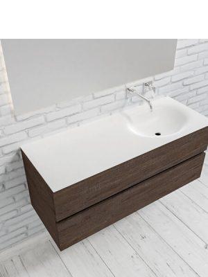 Mueble de baño suspendido Vica 120 Wood nogal 2 cajones en acabado Wood nogal mate. Un mueble de baño de apertura suave por uñero con encimera para grifo empotrado y seno derecho.
