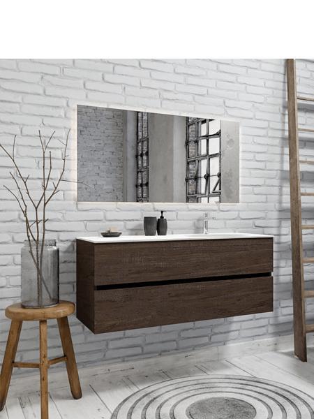 Mueble de baño 150 cm Wood nogal con 2 cajones, lavabo de Solid surface seno derecho con 1 orificio(s) para el grifo.