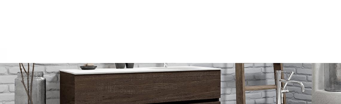 Mueble de baño suspendido Vica 120 Wood nogal 2 cajones en acabado Wood nogal mate. Un mueble de baño de apertura suave por uñero con encimera para grifo sobre encimera y seno derecho.