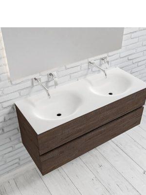 Mueble de baño suspendido Vica 120 Wood nogal 2 cajones en acabado Wood nogal mate. Un mueble de baño de apertura suave por uñero con encimera para grifo empotrado y seno doble.