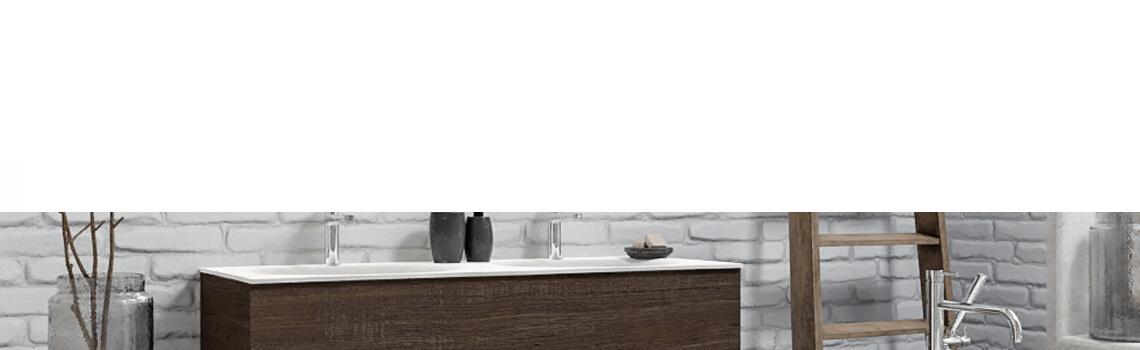 Mueble de baño suspendido Vica 120 Wood nogal 2 cajones en acabado Wood nogal mate. Un mueble de baño de apertura suave por uñero con encimera para grifo sobre encimera y seno doble.