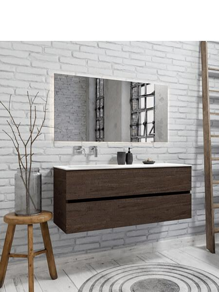 Mueble de baño suspendido Vica 120 Wood nogal 2 cajones en acabado Wood nogal mate. Un mueble de baño de apertura suave por uñero con encimera para grifo empotrado y seno izquierda.