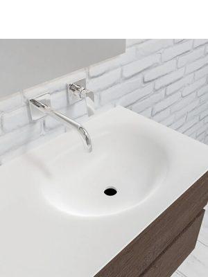 Mueble de baño suspendido Vica 120 nogal 4 cajones. Un mueble de baño de apertura suave por uñero con encimera para grifo sobre encimera y seno derecha.