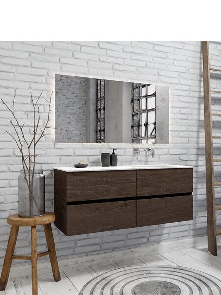 Mueble de baño 150 cm Wood nogal con 4 cajones, lavabo de Solid surface seno derecho con 0 orificio(s) para el grifo.