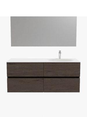 Mueble de baño suspendido Vica 120 nogal 4 cajones. Un mueble de baño de apertura suave por uñero con encimera para grifo sobre encimera y seno derecha