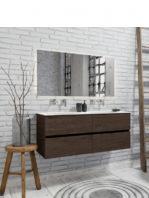 Mueble de baño suspendido Vica 120 nogal 4 cajones. Un mueble de baño de apertura suave por uñero con encimera para grifo sobre encimera y seno doble.