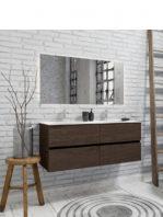Mueble de baño suspendido Vica 120 nogal 4 cajones. Un mueble de baño de apertura suave por uñero con encimera para grifo sobre encimera y seno doble