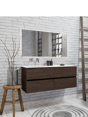 Mueble de baño suspendido Vica 120 nogal 4 cajones en acabado nogal . Un mueble de baño de seno izquierdo de apertura suave por uñero con encimera para grifo sobre encimera.