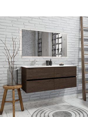 Mueble de baño suspendido Vica 120 nogal 4 cajones en acabado nogal. Un mueble de baño de seno izquierdo de apertura suave por uñero con encimera para grifo sobre encimera.