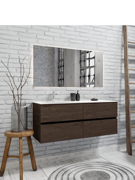 Mueble de baño 150 cm Wood nogal con 4 cajones, lavabo de Solid surface seno izquierdo con 1 orificio(s) para el grifo.