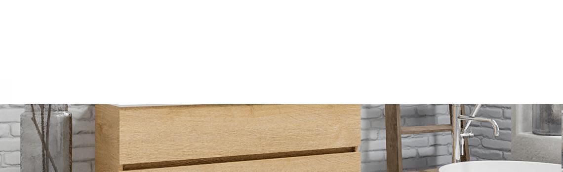 Mueble de baño suspendido Vica 120 Wood roble natural 2 cajones en acabado Wood nogal mate. Un mueble de baño de apertura suave por uñero con encimera para grifo empotrado y seno centrado.