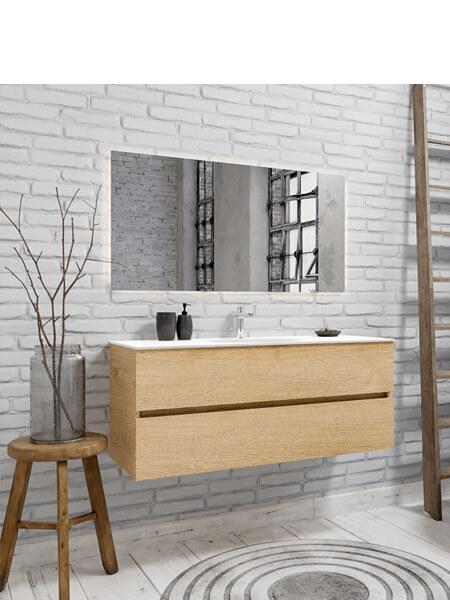 Mueble de baño 150 cm Wood roble natural con 2 cajones, lavabo de Solid surface seno centrado con 1 orificio(s) para el grifo.