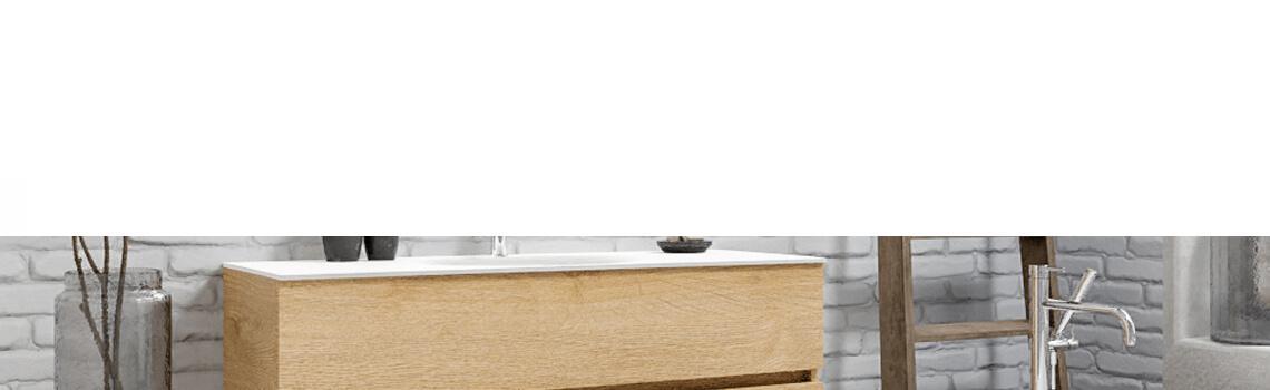 Mueble de baño suspendido Vica 120 Wood roble natural 2 cajones en acabado Wood roble natural mate. Un mueble de baño de apertura suave por uñero con encimera para grifo sobre encimera y seno centrado.
