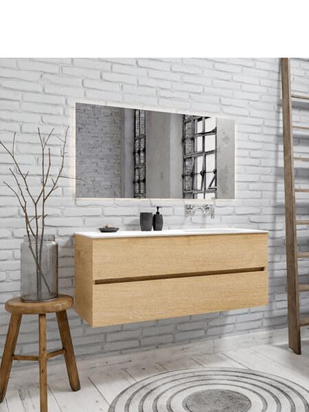 Mueble de baño 150 cm Wood roble natural con 2 cajones, lavabo de Solid surface seno derecho con 0 orificio(s) para el grifo.