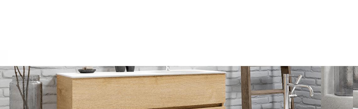 Mueble de baño suspendido Vica 120 Wood roble natural 2 cajones en acabado Wood roble natural mate. Un mueble de baño de apertura suave por uñero con encimera para grifo sobre encimera y seno derecho.