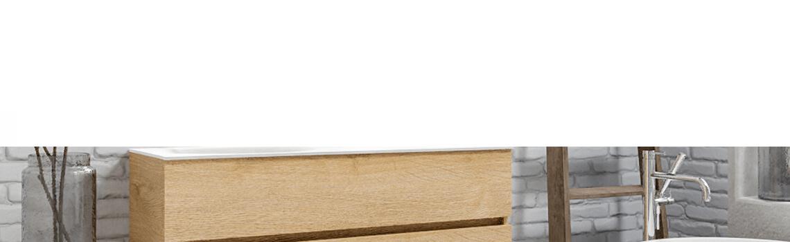 Mueble de baño suspendido Vica 120 Wood roble natural 2 cajones en acabado Wood nogal mate. Un mueble de baño de apertura suave por uñero con encimera para grifo empotrado y seno izquierda.