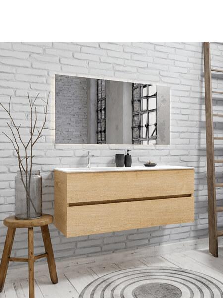 Mueble de baño suspendido Vica 120 Wood roble natural 2 cajones en acabado Wood roble natural mate. Un mueble de baño de apertura suave por uñero con encimera para grifo sobre encimera y seno izquierda.