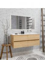 Mueble de baño suspendido Vica 120 roble natural 4 cajones. Un mueble de baño de apertura suave por uñero con encimera para grifo empotrado y seno derecha.