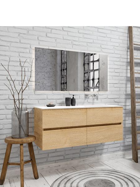 Mueble de baño 150 cm Wood roble natural con 4 cajones, lavabo de Solid surface seno derecho con 0 orificio(s) para el grifo.