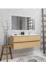 Mueble de baño suspendido Vica 120 roble natural 4 cajones. Un mueble de baño de apertura suave por uñero con encimera para grifo sobre encimera y seno derecha