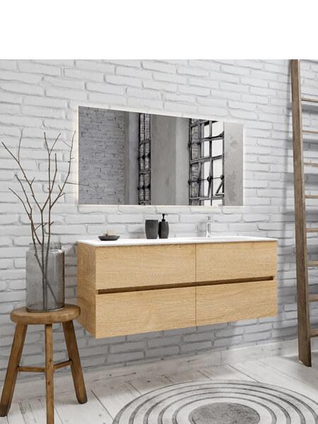 Mueble de baño 150 cm Wood roble natural con 4 cajones, lavabo de Solid surface seno derecho con 1 orificio(s) para el grifo.