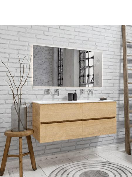 Mueble de baño suspendido Vica 120 roble natural 4 cajones. Un mueble de baño de apertura suave por uñero con encimera sobre encimera y seno doble.
