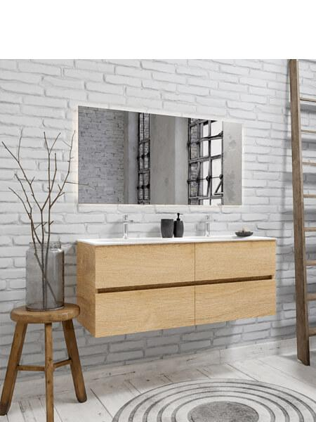 Mueble de baño 120 cm Wood roble natural con 4 cajones, lavabo de Solid surface seno doble con 2 orificio(s) para el grifo.