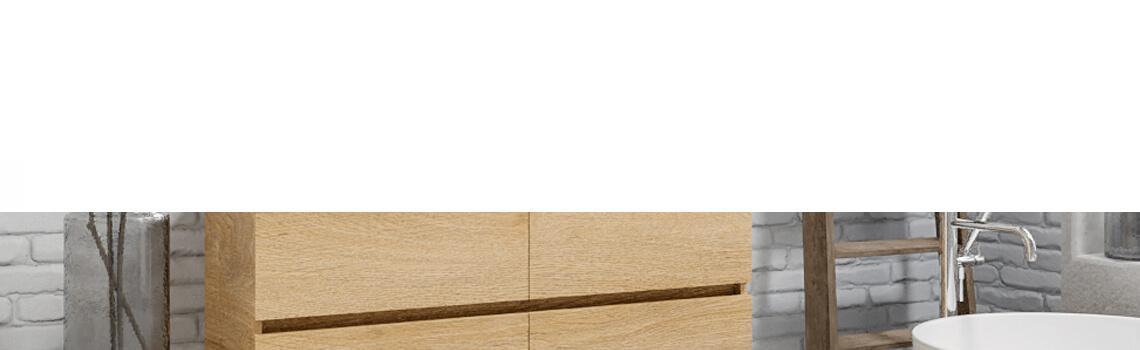 Mueble de baño suspendido Vica 120 roble natural 4 cajones. Un mueble de baño de apertura suave por uñero con encimera para grifo sobre encimera y seno doble