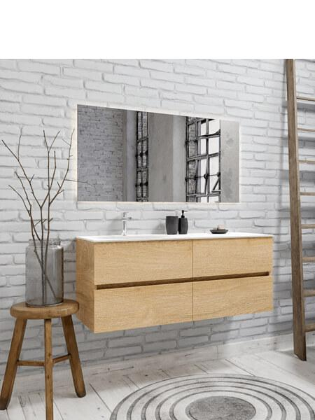 Mueble de baño suspendido Vica 120 nogal 4 cajones en acabado roble natural . Un mueble de baño de seno izquierdo de apertura suave por uñero con encimera seno izquierda para grifo sobre encimera.