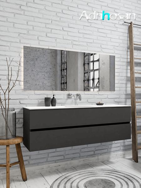 Mueble de baño 150 cm Antracita con 2 cajones, lavabo de Solid surface seno centrado con 0 orificio(s) para el grifo.