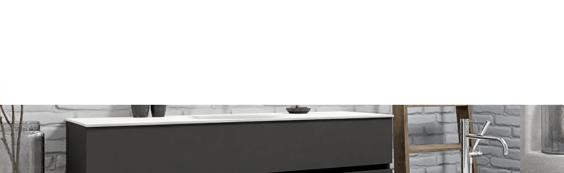 Mueble de baño suspendido Vica 150 Antracita 2 cajones en acabado Antracita. Un mueble de baño de seno centrado de apertura suave por uñero con encimera para grifo empotrado.