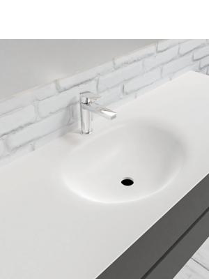 Mueble de baño suspendido Vica 150 Antracita 2 cajones. Un mueble de baño de apertura suave por uñero con encimera seno centrado para grifo sobre encimera.